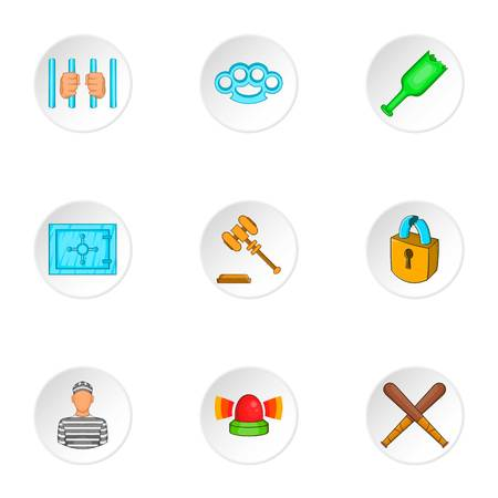 robbery: Robbery icons set. Cartoon illustration of 9 robbery vector icons for web