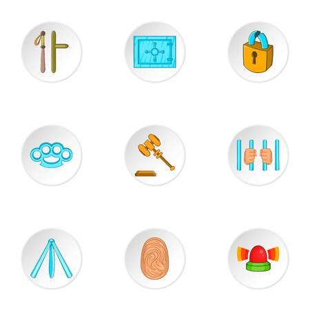 delito: Iconos de delitos. Ilustración de dibujos animados de los iconos del vector 9 ofensa para web