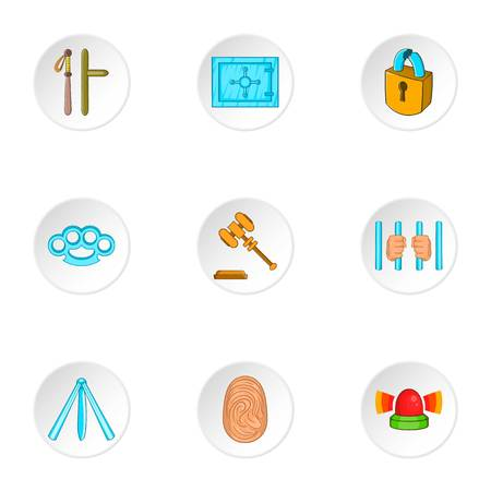 offense: Offense icons set. Cartoon illustration of 9 offense vector icons for web