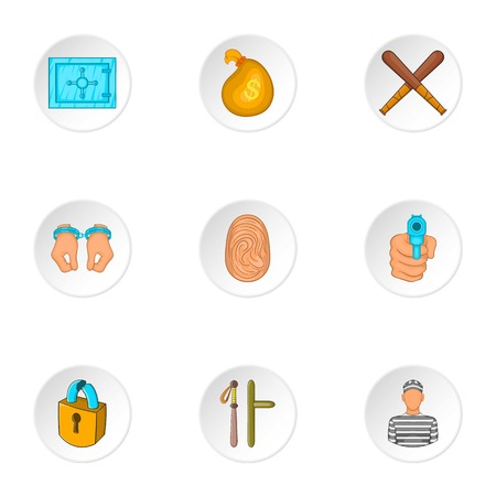 lawlessness: Lawlessness icons set. Cartoon illustration of 9 lawlessness vector icons for web