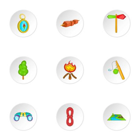 wildlife shooting: Campground icons set. Cartoon illustration of 9 campground vector icons for web Illustration