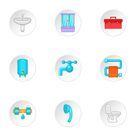 Toilet icons set. Cartoon illustration of 9 toilet vector icons for web Illustration
