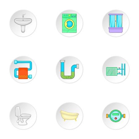 Bathroom icons set. Cartoon illustration of 9 bathroom vector icons for web