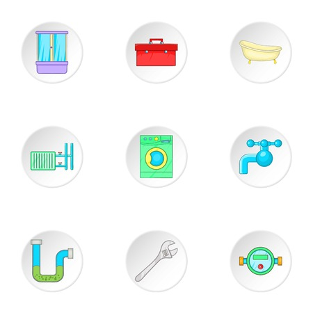 cold room: Plumbing icons set. Cartoon illustration of 9 plumbing vector icons for web