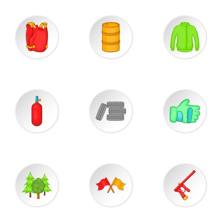 outfit: Outfit paintball icons set. Cartoon illustration of 9 outfit paintball vector icons for web Illustration