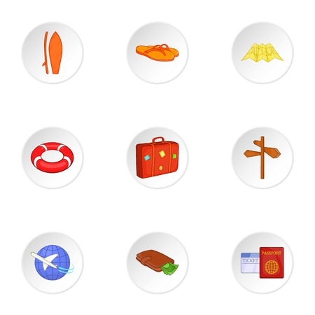 brolly: Trip to sea icons set. Cartoon illustration of 9 trip to sea vector icons for web Illustration