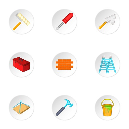 plasterer: Building tools icons set. Cartoon illustration of 9 building tools vector icons for web Illustration
