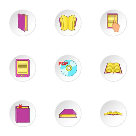 electronic publishing: Education book icons set. Cartoon illustration of 9 education book vector icons for web