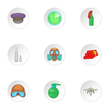 molotov: Military weapons icons set. Cartoon illustration of 9 military weapons vector icons for web