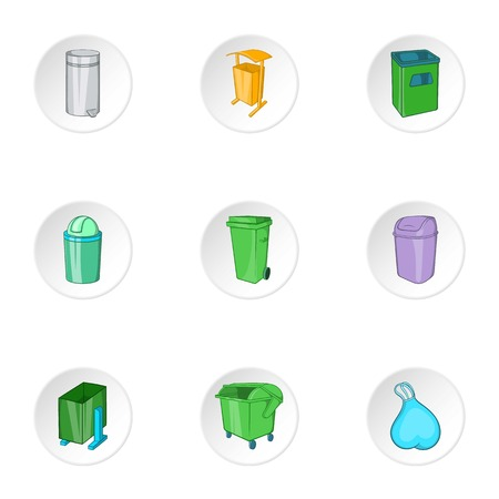 rubbish cart: Garbage storage icons set. Cartoon illustration of 9 garbage storage vector icons for web Illustration