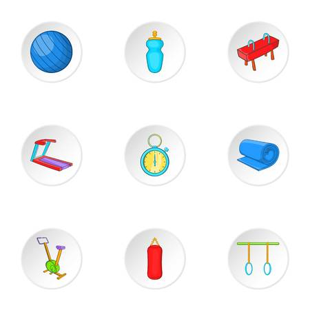 lesson: Lesson in gym icons set. Cartoon illustration of 9 lesson in gym vector icons for web Illustration