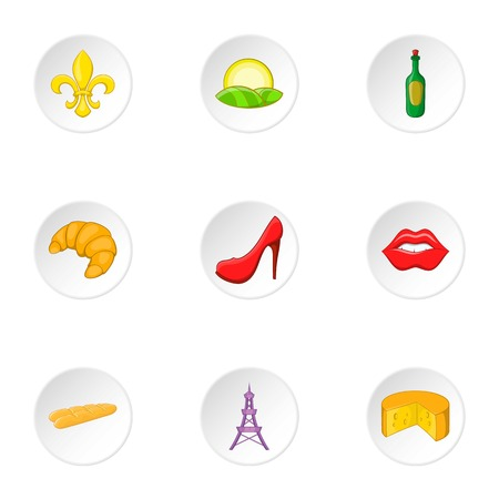 european economic community: Stay in France icons set. Cartoon illustration of 9 stay in France vector icons for web Illustration