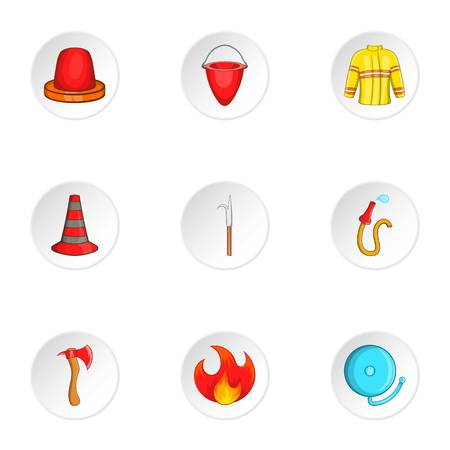 Firefighter icons set. Cartoon illustration of 9 firefighter vector icons for web Illustration