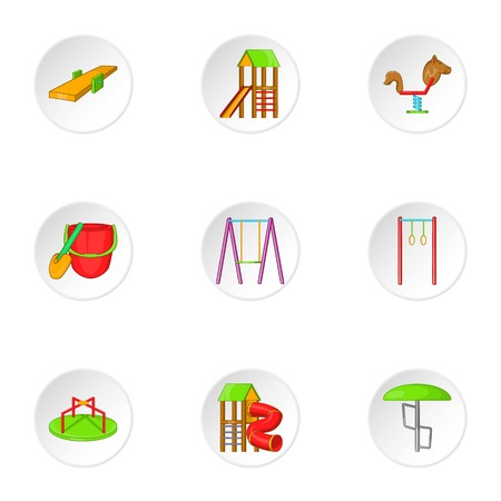 kiddies: Entertainment for kid icons set. Cartoon illustration of 9 entertainment for kid vector icons for web