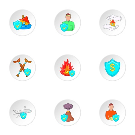 Accident icons set. Cartoon illustration of 9 accident vector icons for web