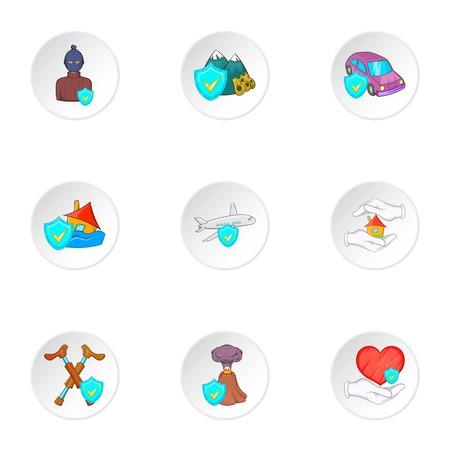 Emergency icons set. Cartoon illustration of 9 emergency vector icons for web
