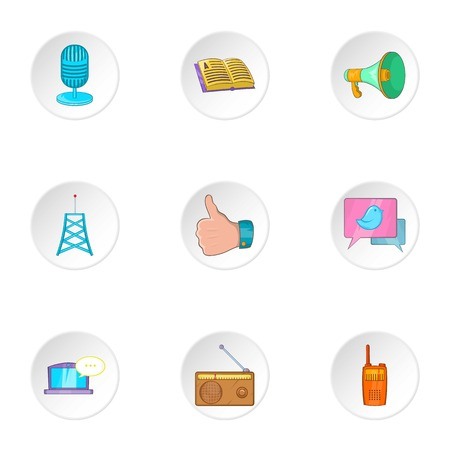 horn like: Latest news icons set. Cartoon illustration of 9 latest news vector icons for web