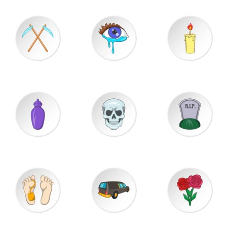 fatality: Death icons set. Cartoon illustration of 9 death vector icons for web
