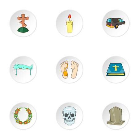 lifeless: Funeral services icons set. Cartoon illustration of 9 funeral services vector icons for web