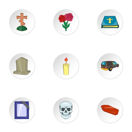 fatality: Funeral icons set. Cartoon illustration of 9 funeral vector icons for web