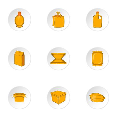 Container icons set. Cartoon illustration of 9 container vector icons for web Illustration