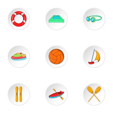 Water sport icons set. Cartoon illustration of 9 water sport vector icons for web Illustration