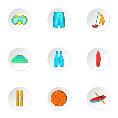 flippers: Water stay icons set. Cartoon illustration of 9 water stay vector icons for web Illustration