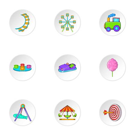 train table: Children rides icons set. Cartoon illustration of 9 children rides vector icons for web