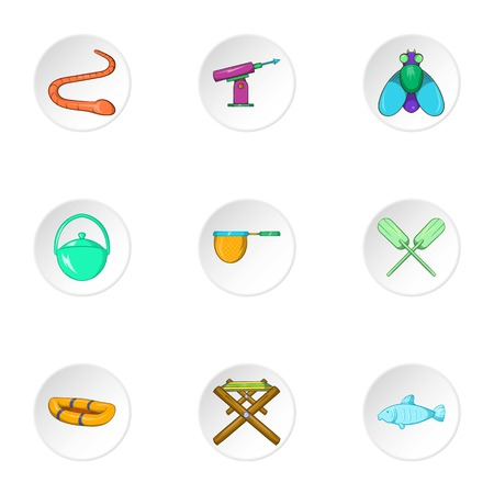 fisheries: Hunting for fish icons set. Cartoon illustration of 9 hunting for fish vector icons for web