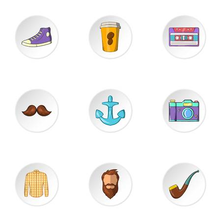 subculture: Subculture hipster icons set. Cartoon illustration of 9 subculture hipster vector icons for web
