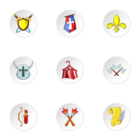 middle ages: Military middle ages icons set. Cartoon illustration of 9 military middle ages vector icons for web