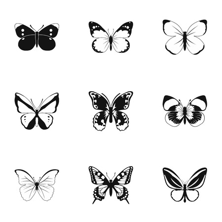 ful: Types of butterflies icons set. Simple illustration of 9 types of butterflies vector icons for web