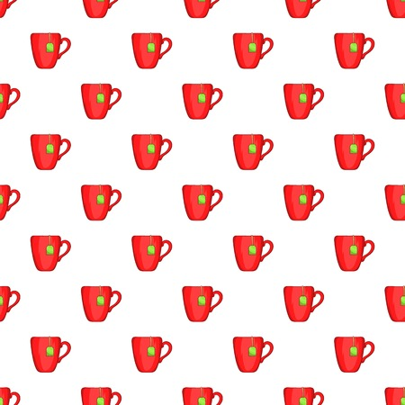 red cup: Red cup of tea pattern. Cartoon illustration of red cup of tea vector pattern for web