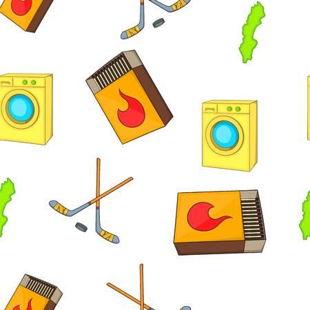 cross match: Sweden elements pattern. Cartoon illustration of Sweden elements vector pattern for web