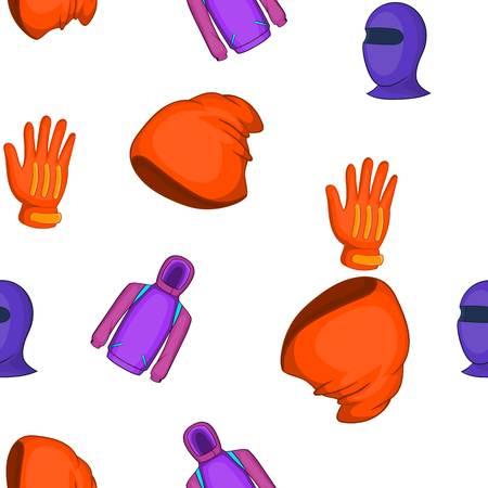 Winter sportswear pattern. Cartoon illustration of winter sportswear vector pattern for web