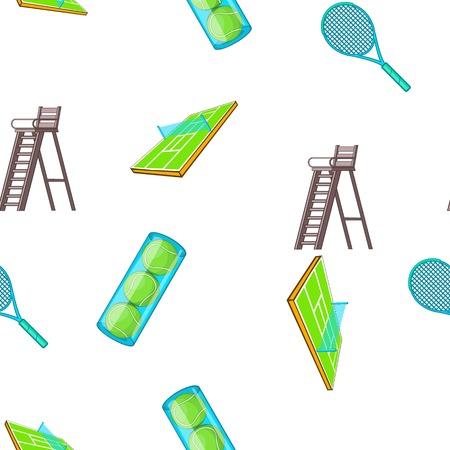 Tennis pattern. Cartoon illustration of tennis vector pattern for web