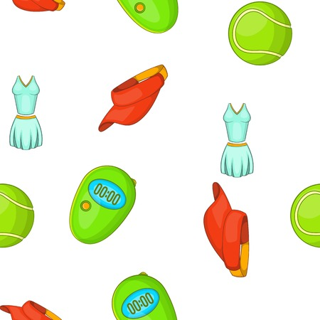 Tennis equipment pattern. Cartoon illustration of tennis equipment vector pattern for web