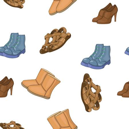 Different types of shoes pattern. Cartoon illustration of different types of shoes vector pattern for web Illustration