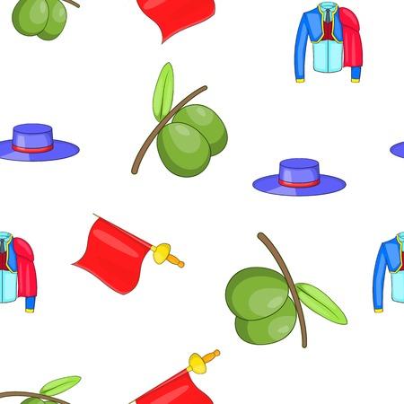spanish food: Spain pattern. Cartoon illustration of Spain vector pattern for web