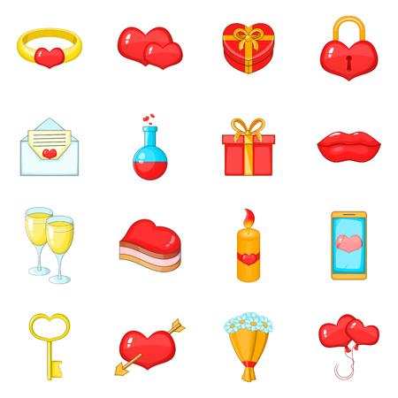 Iconos del día de San Valentín. Ilustración de dibujos animados de 16 iconos de San Valentín día de vectores para la web Ilustración de vector