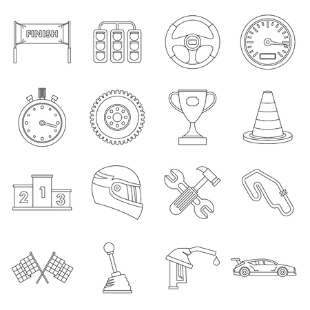 time drive: Racing speed icons set. Outline illustration of 16 racing speed vector icons for web