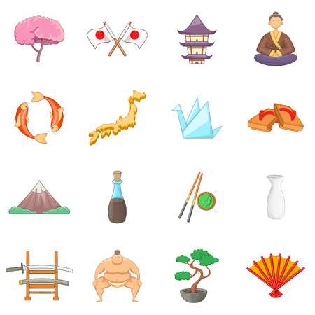 icons: Japan icons set. Cartoon illustration of 16 Japan travel items vector icons for web