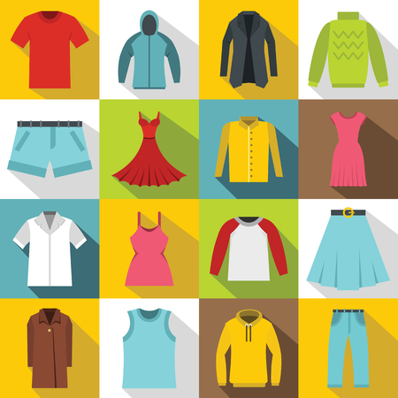tunic: Different clothes icons set. Flat illustration of 16 different clothes items vector icons for web