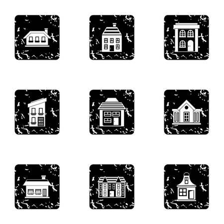 dwelling: Dwelling icons set. Grunge illustration of 9 dwelling vector icons for web Illustration