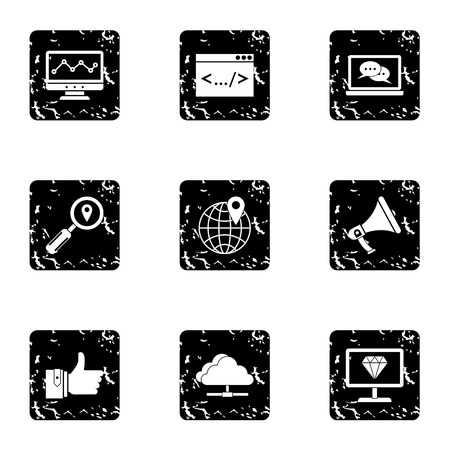 configure: SEO icons set. Grunge illustration of 9 SEO vector icons for web