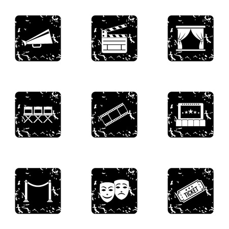 roll curtains: Cinema icons set. Grunge illustration of 9 cinema vector icons for web Illustration