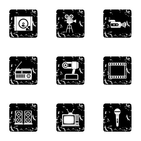 electronic devices: Electronic devices icons set. Grunge illustration of 9 electronic devices vector icons for web