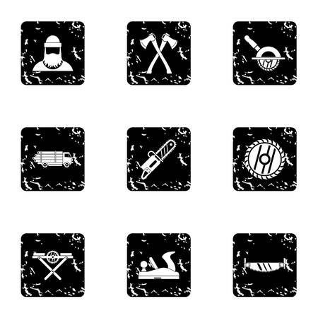 logging: Cleaver icons set. Grunge illustration of 9 cleaver vector icons for web