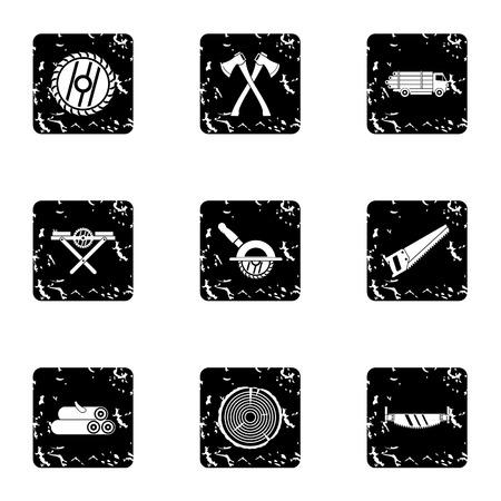 sawing: Sawing icons set. Grunge illustration of 9 sawing vector icons for web Illustration
