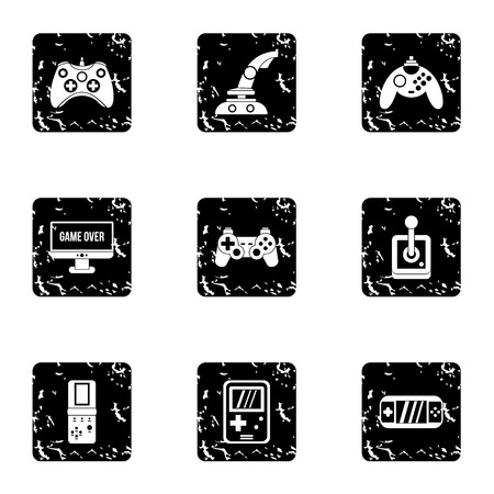 psp: Game icons set. Grunge illustration of 9 game vector icons for web